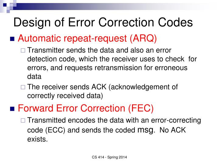 Design of Error Correction Codes
