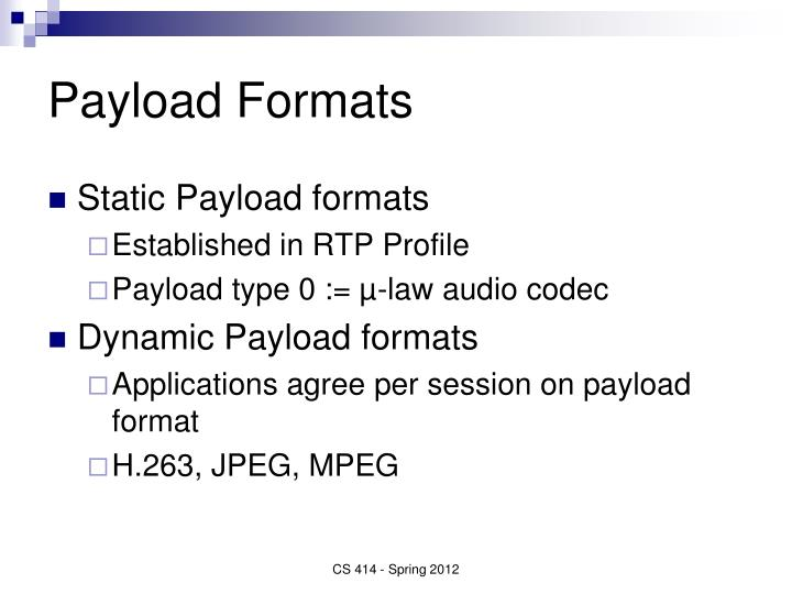 Payload Formats