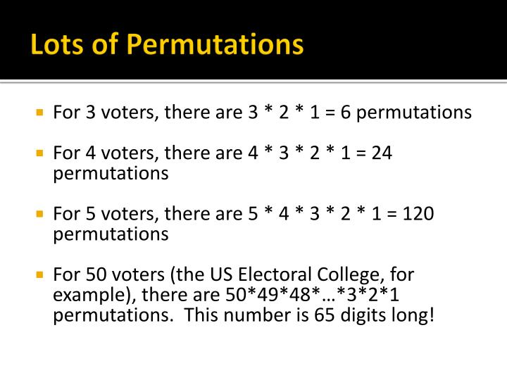 Lots of Permutations