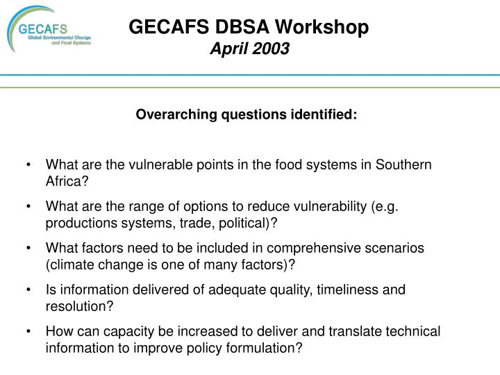 GECAFS DBSA Workshop