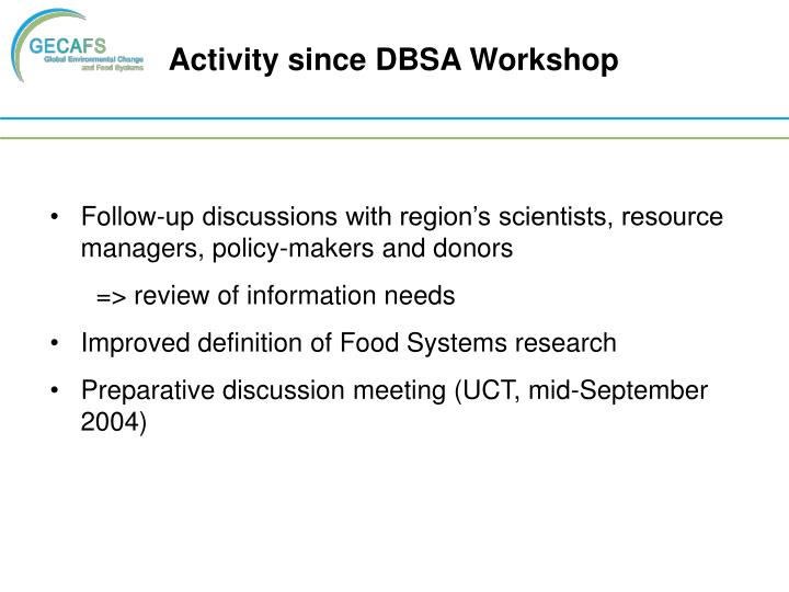 Activity since DBSA Workshop