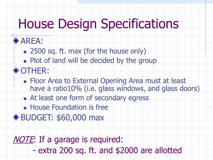 House Design Specifications