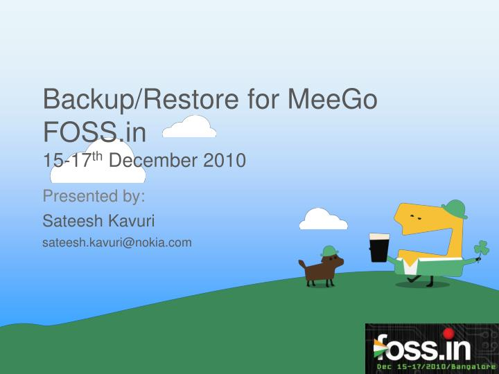 Backup/Restore for MeeGo