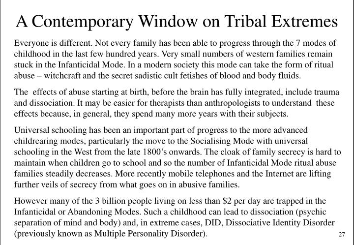 A Contemporary Window on Tribal Extremes