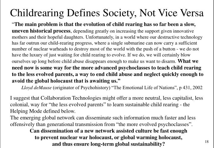 Childrearing Defines Society, Not Vice Versa