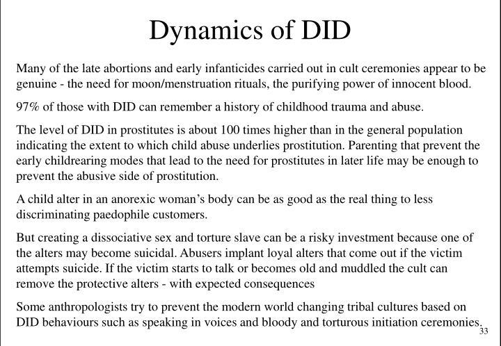 Dynamics of DID