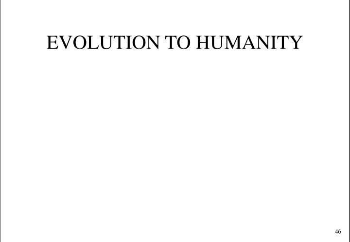 EVOLUTION TO HUMANITY