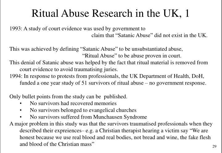Ritual Abuse Research in the UK, 1