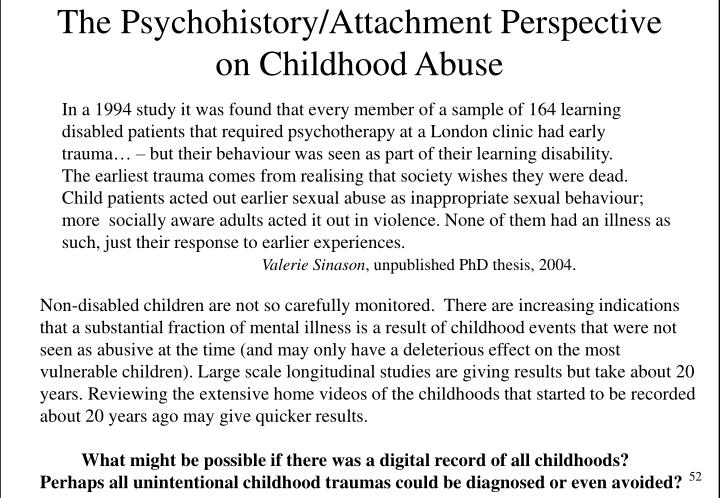 The Psychohistory/Attachment Perspective