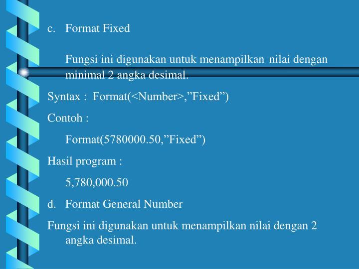 Format Fixed