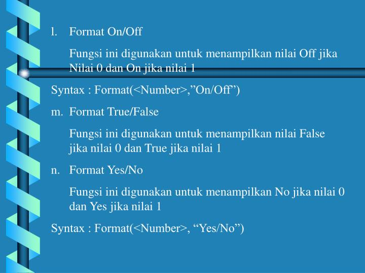 Format On/Off