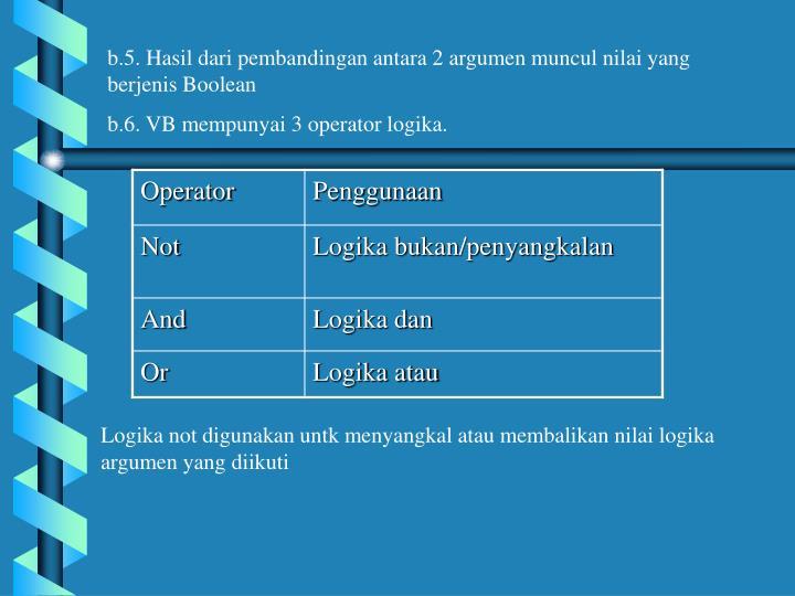 b.5. Hasil dari pembandingan antara 2 argumen muncul nilai yang berjenis Boolean