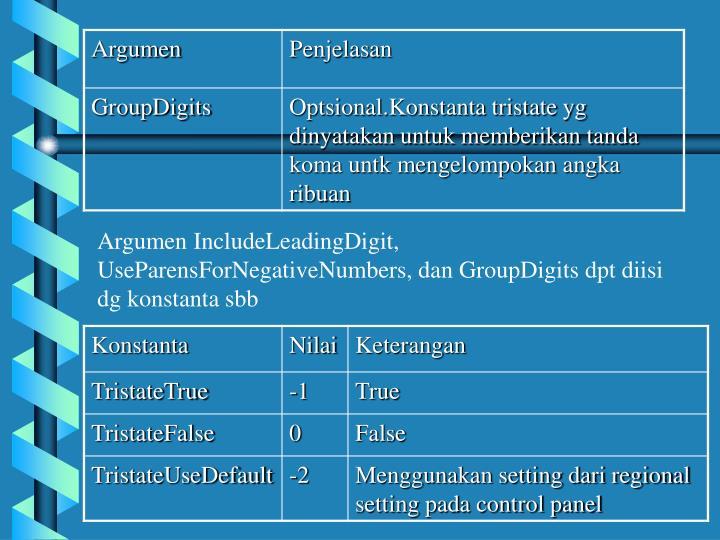 Argumen IncludeLeadingDigit, UseParensForNegativeNumbers, dan GroupDigits dpt diisi dg konstanta sbb
