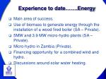 experience to date energy