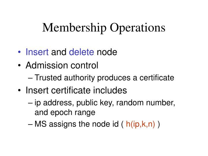 Membership Operations