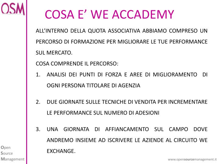 COSA E' WE ACCADEMY