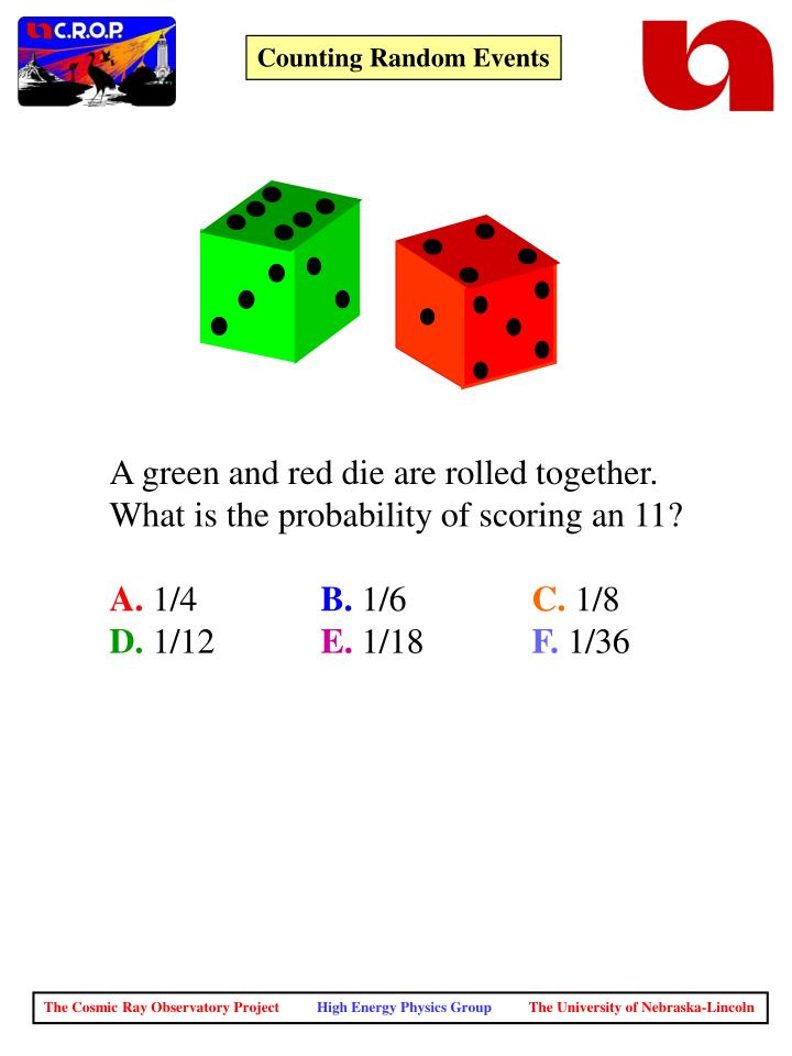 A green and red die are rolled together.