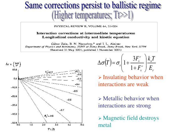 Same corrections persist to ballistic regime