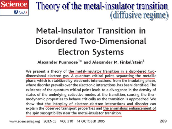 Theory of the metal-insulator transition