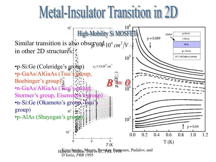 Metal-Insulator Transition in 2D