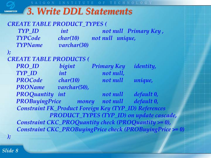 3. Write DDL Statements
