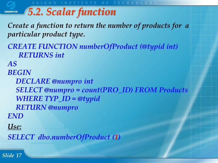 5.2. Scalar function