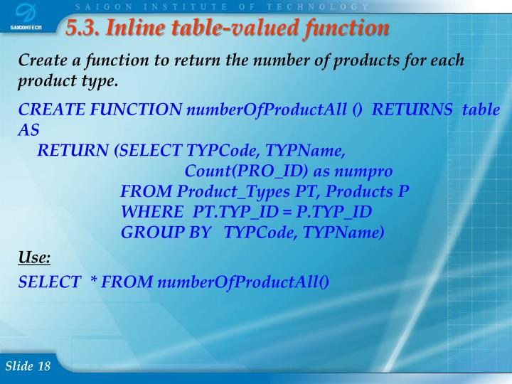 5.3. Inline table-valued function