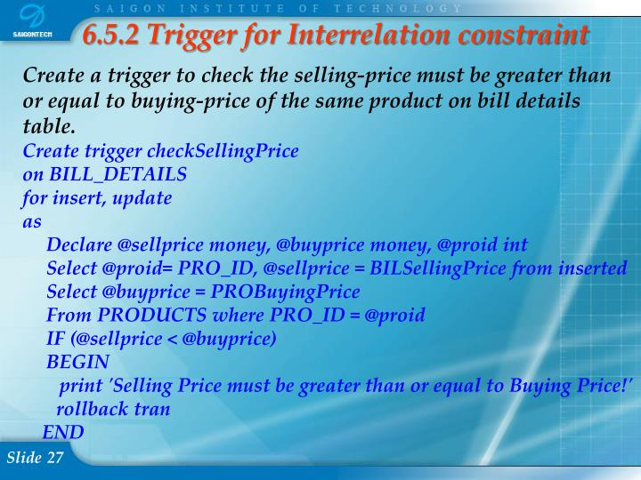 6.5.2 Trigger for Interrelation constraint