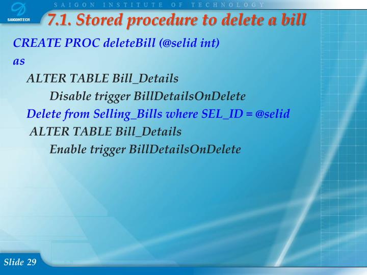 7.1. Stored procedure to delete a bill