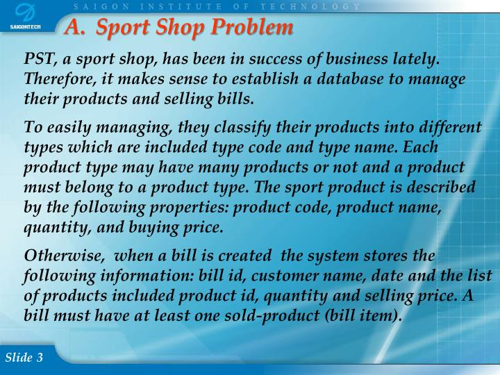 Sport Shop Problem