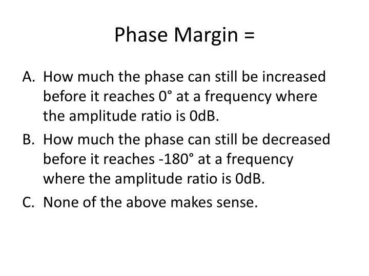 Phase Margin =