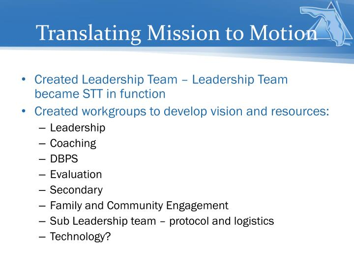 Translating Mission to Motion