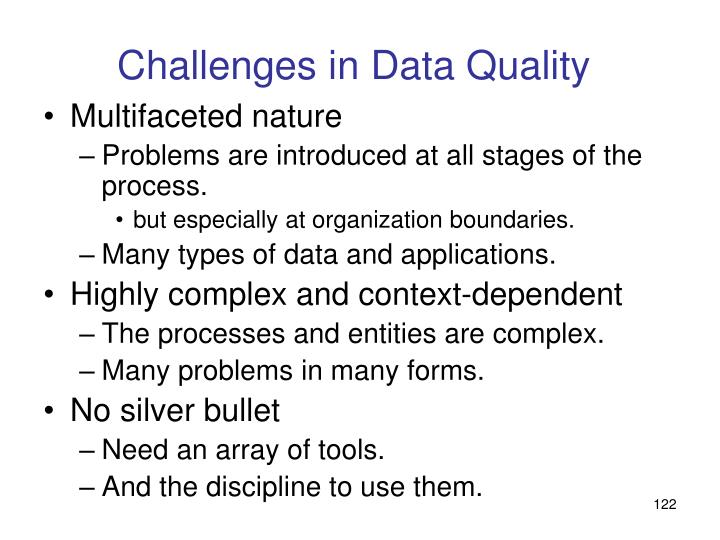 Challenges in Data Quality