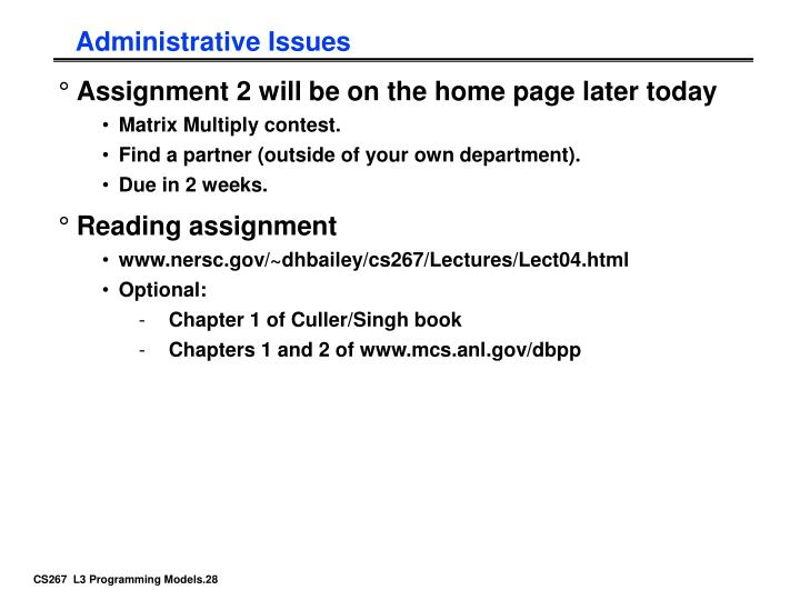 Administrative Issues