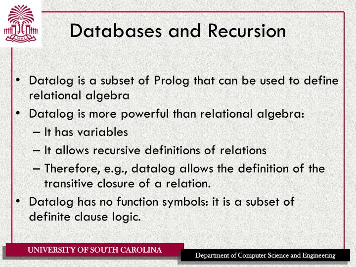 Databases and recursion