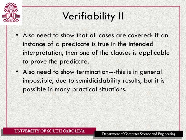 Verifiability II