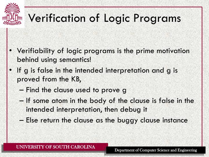 Verification of Logic Programs