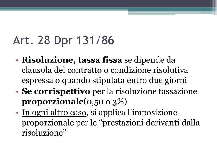 Art. 28 Dpr 131/86