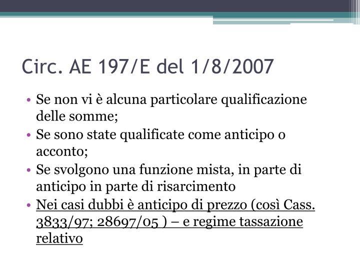 Circ. AE 197/E del 1/8/2007
