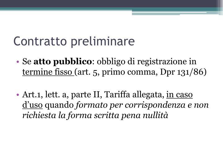 Contratto preliminare