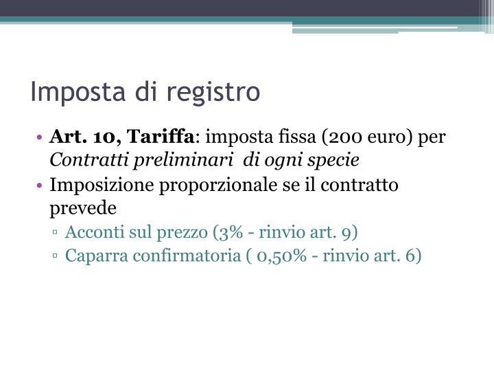 Imposta di registro