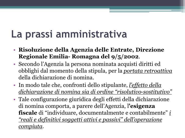 La prassi amministrativa