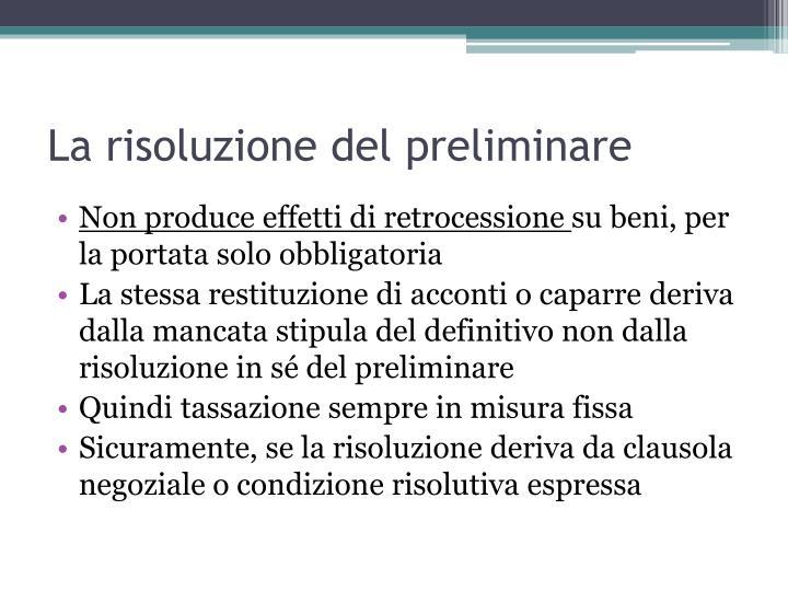 La risoluzione del preliminare
