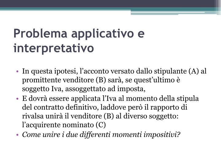 Problema applicativo e interpretativo