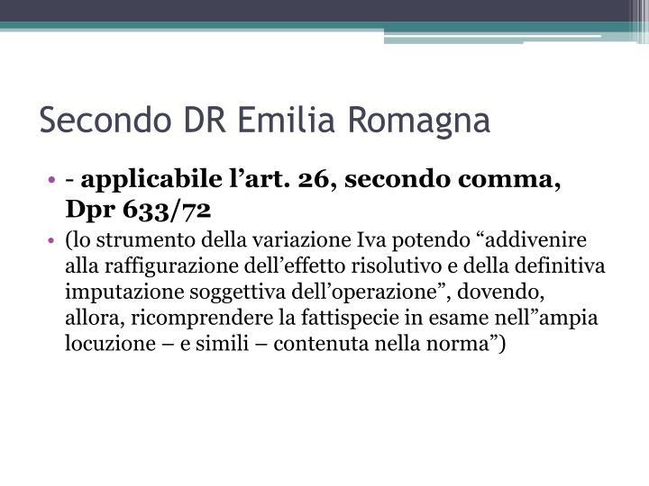 Secondo DR Emilia Romagna