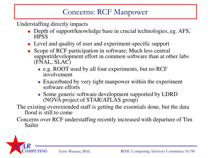 Concerns: RCF Manpower