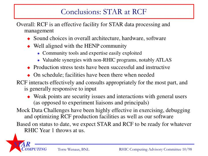 Conclusions: STAR at RCF