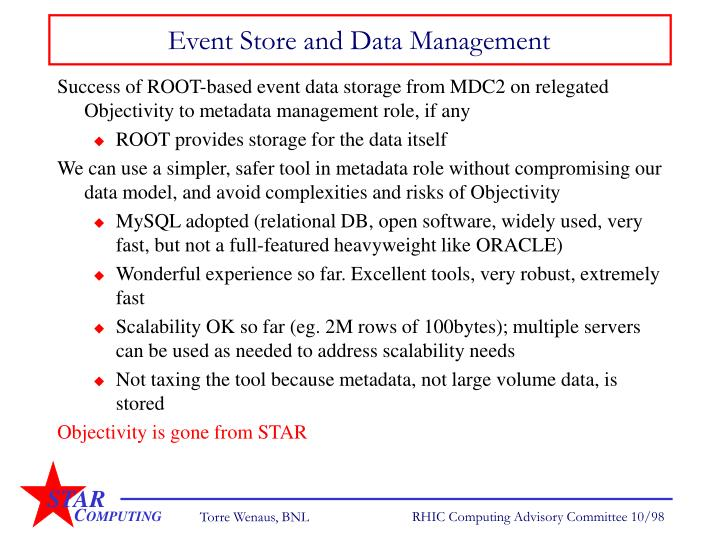 Event Store and Data Management