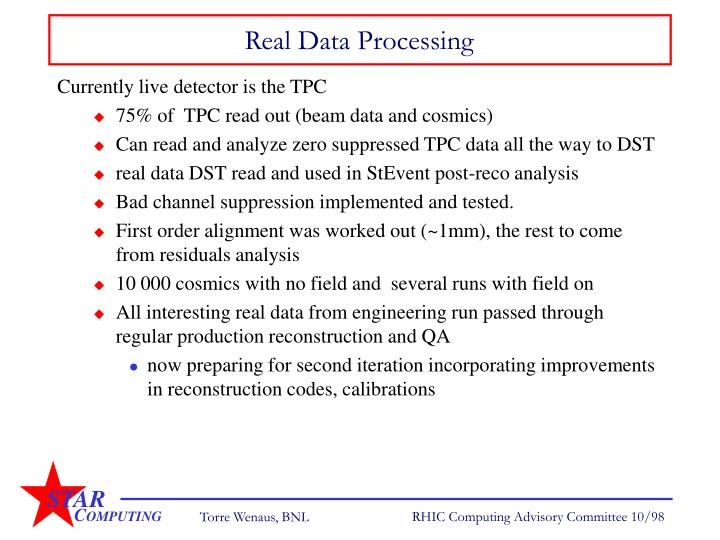 Real Data Processing