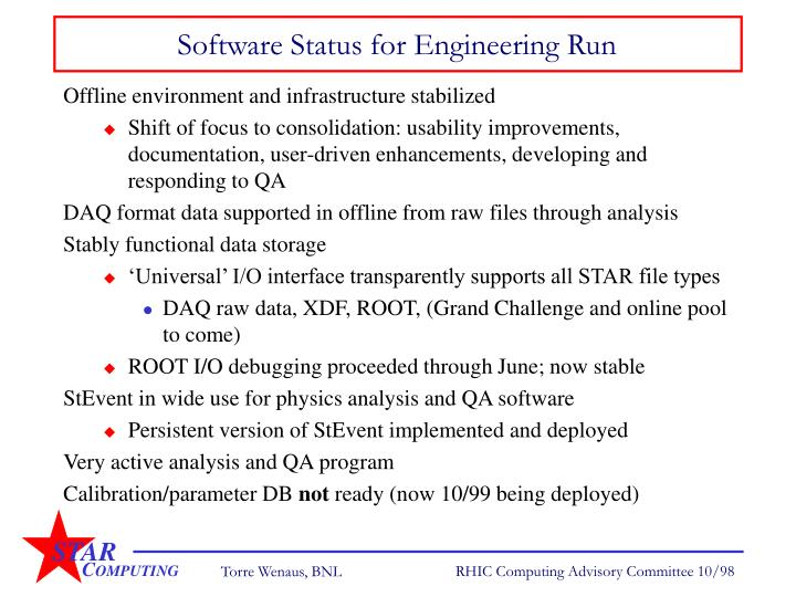 Software Status for Engineering Run